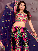 Take a look on the changing fashion of the season. This navy blue lehenga choli is nicely embroidered and patch work done with  resham, sequins and stone work in form of floral motifs. Beautiful embroidery work on lehenga is stunning. The beautiful embroidery on lehenga made it awesome and gives you stylish and attractive look to others. Matching and dupatta is availble with this lehenga. Slight Color variations are possible due to differing screen and photograph resolutions.