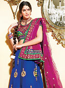 Take a look on the changing fashion of the season. This blue crepe lehenga choli is nicely embroidered and velvet patch border is done with resham, zari, sequins and stone work. The beautiful embroidery on lehenga made it awesome and gives you stylish and attractive look to others. Contrasting green and pink brocade and velvet choli and pink net dupatta is availble with this lehenga. Slight Color variations are possible due to differing screen and photograph resolutions.