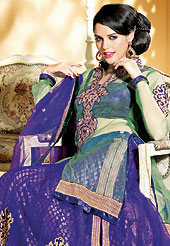 Embroidered lehengas are highly in order on a range of occasions such as wedding, formal party and festivals. This sea green and dark blue net jacket style lehenga choli is nicely embroidered and velvet patch border is done with zari, sequins, stone and lace work. The beautiful embroidery on lehenga made it awesome and gives you stylish and attractive look to others. Matching dupion choli, net dupatta and sea green net jacket is availble with this lehenga. Slight Color variations are possible due to differing screen and photograph resolutions.