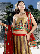 Get ready to sizzle all around you by sparkling lehenga. This fawn and brown satin lehenga choli is nicely embroidered patch work done with  resham, sequins and beads work. Embroidery work on lehenga is stunning. The beautiful embroidery on lehenga made it awesome and gives you stylish and attractive look to others. Matching choli and maroon net dupatta is availble with this lehenga. Slight Color variations are possible due to differing screen and photograph resolutions.