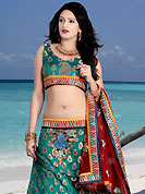 It's cool and has a very modern look to impress all. This teal green brocade lehenga choli is nicely embroidered patch work done with  resham, sequins and stone work. Embroidery work on lehenga is stunning. The beautiful embroidery on lehenga made it awesome and gives you stylish and attractive look to others. Matching choli and maroon net dupatta is availble with this lehenga. Slight Color variations are possible due to differing screen and photograph resolutions.