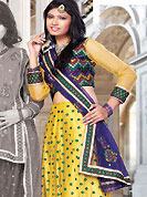 Let your personality speak for you this bridal lehenga embellished with embroidery work. This yellow net lehenga choli is nicely embroidered and patch work done with resham and sequins work. The beautiful embroidery on lehenga made it awesome and gives you stylish and attractive look to others. Matching choli and dark blue net dupatta is availble with this lehenga. Slight Color variations are possible due to differing screen and photograph resolutions.