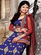 It's cool and has a very modern look to impress all. This blue satin lehenga choli is nicely embroidered and patch work done with resham, zari and stone work. The beautiful embroidery on lehenga made it awesome and gives you stylish and attractive look to others. Matching choli and red net dupatta is availble with this lehenga. Slight Color variations are possible due to differing screen and photograph resolutions.