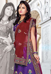 It's cool and has a very modern look to impress all. This deep purple net lehenga choli is nicely embroidered and patch work done with resham, sequins and lace work in form of floral motifs. The beautiful embroidery on lehenga made it awesome and gives you stylish and attractive look to others. Matching choli and contrasting maroon net dupatta is availble with this lehenga. Slight Color variations are possible due to differing screen and photograph resolutions.