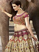Elegance and innovation of designs crafted for you. This maroon lehenga choli is nicely embroidered and patch work done with resham, heavy zari, sequins and stone work in form of floral motifs. The beautiful embroidery on lehenga made it awesome and gives you stylish and attractive look to others. Contrasting rust embroidery work choli and matching dupatta is availble with this lehenga. Slight Color variations are possible due to differing screen and photograph resolutions.