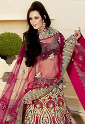 It's cool and has a very modern look to impress all. This red lehenga choli is nicely embroidered and patch work done with resham, zari, sequins and stone work in form of floral motifs. The beautiful embroidery on lehenga made it awesome and gives you stylish and attractive look to others. Contrasting dark grey embroidery work choli and matching dupatta is availble with this lehenga. Slight Color variations are possible due to differing screen and photograph resolutions.