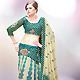 Light Fawn and Teal Green Faux Georgette Lehenga Choli with Dupatta
