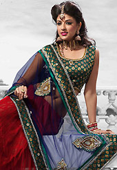 It's cool and has a very modern look to impress all. This red net lehenga is nicely embroidered patch work is done with resham, zari, sequins, stone and lace work. The beautiful embroidery on lehenga made it awesome and gives you stylish and attractive look to others. Matching choli and blue net dupatta is availble with this lehenga. Slight Color variations are possible due to differing screen and photograph resolutions.