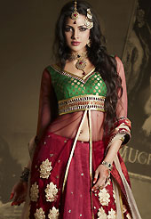 The evolution of style species collection spells pure femininity. This dark red lehenga is nicely embroidered patch work is done with resham, zari, sequins, stone and lace work. The beautiful embroidery on lehenga made it awesome and gives you stylish and attractive look to others. Contrasting green and dark red long choli and beige net dupatta is availble with this lehenga. Slight Color variations are possible due to differing screen and photograph resolutions.