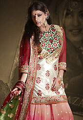 It's cool and has a very modern look to impress all. This peach, pink and red lehenga is nicely embroidered patch work is done with resham, zari, sequins, stone and lace work. The beautiful embroidery on lehenga made it awesome and gives you stylish and attractive look to others. Contrasting light cream and red long choli and green and maroon net dupatta is availble with this lehenga. Slight Color variations are possible due to differing screen and photograph resolutions.