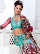 Be the cynosure of all eyes with this wonderful casual wear in flattering colors and combinations. This blue and dark pink net lehenga is nicely embroidered and velvet patch work is done with stone, zardosi, cutdana and cutbeads work. The beautiful embroidery on lehenga made it awesome and gives you stylish and attractive look to others. Matching choli and dupatta is availble with this lehenga. Slight Color variations are possible due to differing screen and photograph resolutions.