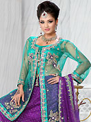 No one like ordinary look, because every woman has their own beauty and our collection gives extra ordinary look to you. This violet net lehenga is nicely embroidered patch work is done with stone, zardosi, cutdana and cutbeads work. The beautiful embroidery on lehenga made it awesome and gives you stylish and attractive look to others. Contrasting aqua blue choli, aqua blue net jacket and violet net dupatta is availble with this lehenga. Slight Color variations are possible due to differing screen and photograph resolutions.
