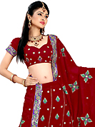 Make your collection more attractive and charming with this impressive dress. This maroon faux georgette lehenga is nicely embroidered patch work is done with resham, zari, sequins and stone work. The beautiful embroidery on lehenga made it awesome and gives you stylish and attractive look to others. Matching choli and dupatta is availble with this lehenga. Slight Color variations are possible due to differing screen and photograph resolutions.