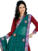 Embroidered lehengas are highly in order on a range of occasions such as wedding, formal party and festivals. This maroon net lehenga is nicely embroidered patch work is done with resham, zari, sequins and stone work. The beautiful embroidery on lehenga made it awesome and gives you stylish and attractive look to others. Matching choli and teal green dupatta is availble with this lehenga. Slight Color variations are possible due to differing screen and photograph resolutions.