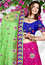 Elegance and innovation of designs crafted for you. This pink net a-line lehenga is nicely embroidered patch work is done with resham and stone work. The beautiful embroidery on lehenga made it awesome and gives you stylish and attractive look to others. Contrasting dark blue choli and light green net dupatta is availble with this lehenga. Slight Color variations are possible due to differing screen and photograph resolutions.