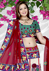 Welcome to the new era of Indian fashion wear. This off white net a-line lehenga is nicely embroidered patch work is done with resham, sequins, stone and lace work. The beautiful embroidery on lehenga made it awesome and gives you stylish and attractive look to others. Contrasting turquoise green choli and maroon net dupatta is availble with this lehenga. Slight Color variations are possible due to differing screen and photograph resolutions.