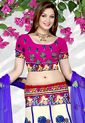 Bold colors created by the inventive drapes of textile catch the imagination like no other contemporary clothing. This white net a-line lehenga is nicely embroidered patch work is done with resham, sequins, stone and lace work. The beautiful embroidery on lehenga made it awesome and gives you stylish and attractive look to others. Contrasting pink choli and blue net dupatta is availble with this lehenga. Slight Color variations are possible due to differing screen and photograph resolutions.