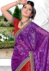 Embroidered lehengas are highly in order on a range of occasions such as wedding, formal party and festivals. This red net lehenga is nicely embroidered patch work is done with resham, zari, stone and lace work. The beautiful embroidery on lehenga made it awesome and gives you stylish and attractive look to others. Matching choli and purple dupatta is availble with this lehenga. Slight Color variations are possible due to differing screen and photograph resolutions.