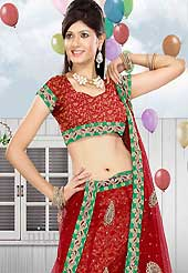 Be the cynosure of all eyes with this wonderful casual wear in flattering colors and combinations. This red net lehenga is nicely embroidered patch work is done with resham, zari, sequins and stone work. The beautiful embroidery on lehenga made it awesome and gives you stylish and attractive look to others. Matching choli and dupatta is availble with this lehenga. Slight Color variations are possible due to differing screen and photograph resolutions.
