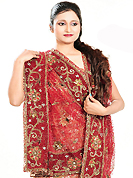No one like ordinary look, because every woman has their own beauty and our collection gives extra ordinary look to you. This dark peach net lehenga is nicely embroidered patch work is done with cutdana, sequins, stone and cutbeads work. The beautiful embroidery on lehenga made it awesome and gives you stylish and attractive look to others. Matching choli and red net dupatta is availble with this lehenga. Slight Color variations are possible due to differing screen and photograph resolutions.