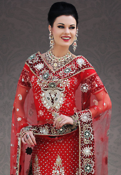 The evolution of style species collection spells pure femininity. This red net lehenga choli is nicely embroidery and velvet patch work is done with stone, zardosi, cutdana, beads and cutbeads work. All over embroidery work on lehenga is stunning. The beautiful heavy embroidery on lehenga made it awesome and gives you stylish and attractive look to others. Matching choli and dupatta is availble with this lehenga. Slight Color variations are possible due to differing screen and photograph resolutions.