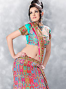 No one like ordinary look, because every woman has their own beauty and our collection gives extra ordinary look to you.  A Lehenga made with  dupion Fabric.  This lehenga embellished with stone, sitara, zarkins, and resham work. The beautiful heavy embroidery made it awesome and gives you stylish and attractive look to others. The matching blouse and chunari are enhanced your personality.  Slight Color variations possible due to differing screen and photograph resolutions.