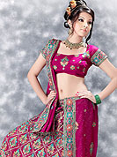 Today  fashion is really about sensuality which can be seen in this creation. Embellish yourself with the classy dress.  A Lehenga made with  georgette.  This lehenga embellished with stone, sitara, zarkins, and resham work. The beautiful heavy embroidery made it awesome and gives you stylish and attractive look to others. The matching blouse and chunari are enhanced your personality. Slight Color variations possible due to differing screen and photograph resolutions.