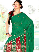 Embroidered lehengas are highly in order on a range of occasions such as wedding, formal party and festivals. This stylish red-green georgette lehenga choli with dupatta is fascinating. This intricate design is beautifully crafted with sitara, resham threads, sequins and cutdana work. Matching chunari and choli is available with this. Slight Color variations are possible due to differing screen and photograph resolutions.