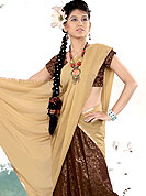 Attract all attentions with this brown lehenga. This georgette lehenga have beautiful floral embroidery done with zari, sitara and lace patch. Mixing of color make unique to others and enhanced your personality. Slight Color variations are possible due to differing screen and photograph resolutions.