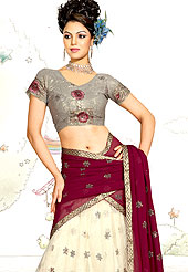 Today's fashion is really about sensuality which can be seen in this creation. A Lehenga made with georgette Fabric is simply beautiful. This lehenga embellished with stone, sitara, mirror, zari and resham work. The beautiful embroidery on lehenga made it awesome and gives you stylish and attractive look to others. The matching blouse and chunari are enhanced your personality.  Slight Color variations are possible due to differing screen and photograph resolutions.