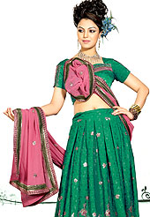 Embroidered lehenga are highly in order on a range of occasions such as wedding, formal party and festivals. Lehenga made with georgette Fabric is simply beautiful. This lehenga embellished with stone, sitara, zari and resham work. The beautiful embroidery on lehenga made it awesome and gives you stylish and attractive look to others. The matching blouse and chunari are enhanced your personality.  Slight Color variations are possible due to differing screen and photograph resolutions.