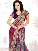Lehenga in material with dupion and net Fabric maintain the artistic look as well as present look. This violet-pink drape have floral pattern on lehenga done with sequins, resham and zari. Mixing of color make this lehenga an ethnic look and increasing your beauty. Matching Blouse and dupatta is available. Slight Color variations are possible due to differing screen and photograph resolutions.