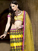 Bold colors created by the inventive drapes of textile catch the imagination like no other contemporary clothing. This yellow net with satin lining fish cut lehenga choli is nicely embroidered with resham, zari, sequins, lace and patch work done in form of floral motiff. Matching shimmer blouse with net dupatta available with this. All over broad embroidered dupion silk patch patti and beautiful embroidery in lehenga is enhancing the beauty of this lehenga. Lehenga waist can be customize upto 42 inches, length 40 inches and the bust size is upto 40 inches. As shown lehenga is available. Accessories shown in the image is just for photography purpose. Slight color variations are possible due to differing screen and photograph resolution.