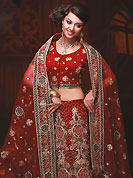 No one like ordinary look, because every woman has their own beauty and our collection gives extra ordinary look to you. This dark maroon net fishtail lehenga choli is nicely embroidered work done with resham, nakshi, zircon and stone work in form of floral motifs. Embroidery work on all over lehenga is stunning. Border on dupatta made it stylish and fabulous, gives you a stunning look. The beautiful embroidery on lehenga made it awesome and gives you stylish and attractive look to others. Mixing of color make this lehenga an ethnic look and increasing your beauty. Matching choli and dupatta is availble with this lehenga. Slight Color variations are possible due to differing screen and photograph resolutions.