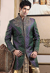 Fantastic sherwani made pure banarasi silk with dhoti. Amazing sherwani adorned with stones, zardosi and cutdana. Stylish dhoti made it very pretty. Outfit is a novel ways of getting yourself noticed. A heavy embroidery on front border, collar and cuffs are enhanced your personality. Slight Color variations possible due to differing screen and photograph resolutions.