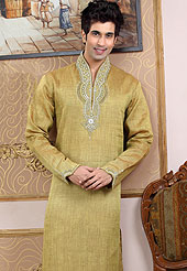Emblem of fashion and style, each piece of our range of Designer Kurta is certain to enhance your look as per todays trends. This kurta made with linen fabric. This kurta embellished with cutdana, beads, pearls and stones. The beautiful heavy embroidery on collar, front and cuff made it awesome and gives you stylish and attractive look to others. This kurta paired with same color fabric pathani salwar that completes the look. Slight Color variations possible due to differing screen and photograph resolutions.