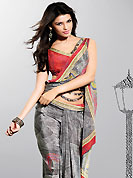 This dark grey crepe saree is nicely designed with paisley and abstract art digital print work in fabulous style. Get an attractive look with this casual wear saree. Fancy printed saree paired with matching blouse. Slight Color variations are possible due to differing screen and photograph resolutions.