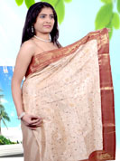 The popularity of this dress comes from the fact that it showcases the beauty modesty as well as exquisitely. This saree have beautiful thread work in floral pattern. Border make unique to others and enhanced your personality. This saree is made with cotton fabric. Matching blouse is available. Slight Color variations are possible due to differing screen and photograph resolutions.