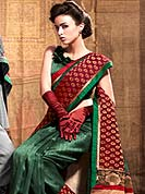 You can be sure that ethnic fashions selections of clothing are taken from the latest trend in today's fashion. This beautiful saree is nicely designed with self weaving and patch work in fabulous style. It will enhance your personality and gives you a singular look. Graceful patch of brocade pallu of the saree is nice and impress to all. Matching blouse is available with this saree. This drape is made with dupion silk fabric. Slight color variations are due to differing screen and photography resolution.
