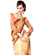 The evolution of style species collection spells pure femininity. This light yellow and orange georgette printed saree is nicely designed with digital print in floral motifs. Get an attractive look with this casual wear saree. Fancy printed saree paired with matching blouse. Slight Color variations are possible due to differing screen and photograph resolutions.