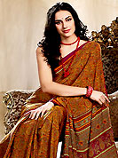 The fascinating beautiful subtly garment with lovely patterns. This saree is nicely designed with floral and paisley print work in fabulous style. This beautiful saree is used for casual porpose which gives you a singular and dissimilar look. Color blend of this saree is nice. This saree is made with faux crepe fabric. Matching blouse is available with this saree. Slight Color variations are possible due to differing screen and photograph resolutions.