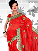 Era with extension in fashion, style, Grace and elegance have developed grand love affair with this ethnical wear. This purple saree have beautiful embroidery work which is embellished with resham, sequins and zari work in form of floral motifs. Beautiful embroidery patch work border on saree make attractive to impress all. This beautiful drape is crafted with georgette fabric. Matching blouse is available. This saree is also available in red, green, pink, peach, aqua, orange, voilet colors. Slight Color variations are possible due to differing screen and photograph resolutions.