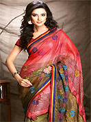 Welcome to the new era of Indian fashion wear. This saree is nicely designed with floral, stripe print and embroidered patch work. Embroidery is done with resham and zari work in form of floral motifs. Beautiful combinations of print and embroidered patch work on saree make attractive to impress all. This saree gives you a modern and different look in fabulous style. Matching blouse is available with this saree. This saree is also available in Turquoise Green and Purple, Dark Orange and Red, Pastel Green and Blue colors. Slight color variations are possible due to differing screen and photograph resolution.