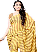 A desire that evokes a sense of belonging with a striking details. This saree is beautifully designed with stripe print work. This fabulous party wear saree is specially crafted for your stunning and gorgeous look. This beautiful drape is crafted with georgette fabric. Matching Blouse is available with this saree. Slight Color variations are possible due to differing screen and photograph resolutions.