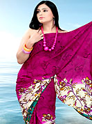 Envelope yourself in classic look with this charming saree. This saree is nicely designed with floral print work in fabulous style. This beautiful saree is used for festival and casual porpose which gives you a singular and dissimilar look. This saree is made with faux georgette fabric. Matching blouse is available with this saree. Slight Color variations are possible due to differing screen and photograph resolutions.