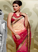 Get ready to sizzle all around you by sparkling saree. This cream and red georgette saree is nicely designed with embroidered patch work in fabulous style. Embroidery is done with zari, kasab and self weaving work in form of floral motifs. Beautiful patch border on saree make attractive to impress all. This saree gives you a modern and different look in fabulous style. Matching blouse is available with this saree. Slight color variations are possible due to differing screen and photograph resolution.