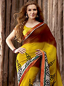 Exquisite combination of color, fabric can be seen here. This mustard, brown and off white chiffon saree is simply designed with traditional, stripe print and patch work. This beautiful saree is used for casual porpose which gives you a singular and dissimilar look. Color blend of this saree is nice. Matching blouse is available with this saree. Slight color variations possible due to differing screen and photograph resolution.