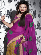 Be the cynosure of all eyes with this wonderful casual wear in flattering colors and combinations. This pink and dark yellow chiffon and khadi silk saree is nicely designed with embroidered and fancy moti lace patch border is done with resham and sequins work. Saree gives you a singular and dissimilar look. Matching blouse is available. Slight color variations are possible due to differing screen and photograph resolution.