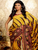 An occasion wear perfect is ready to rock you. This dark yellow and red crushed faux georgette saree have beautiful abstract, dot print and embroidery patch work which is embellished with resham and sequins work. Fabulous designed embroidery gives you an ethnic look and increasing your beauty. Matching blouse is available. This saree is also available in A Green and Dark Pink, B Blue and Purple, C Red and Green, D Magenta and Turquoise Blue colors. Slight Color variations are possible due to differing screen and photograph resolutions.