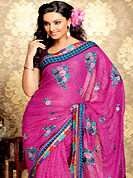 Elegance and innovation of designs crafted for you. This dark pink faux georgette saree have beautiful zigzag, dot print and embroidery patch work which is embellished with resham work. Fabulous designed embroidery gives you an ethnic look and increasing your beauty. Matching blouse is available. Slight Color variations are possible due to differing screen and photograph resolutions.